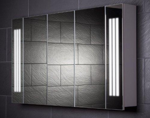 Galdem Spiegelschrank LOFT120 / großer Badezimmerschrank 120cm / 3 türig/mit Trendiger Beleuchtung T5 Leuchtstofflampe/Softclose Funktion/Steckdose/Badezi