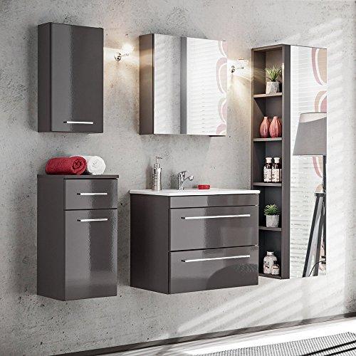 Lomadox Badmöbel Set mit 2 bis 5 teilen Hochglanz Graphit inkl. Keramik-Waschtisch, Spiegelschrank, Midischrank, Hängeschrank, Unterschrank & Spiegel-Hochschrank