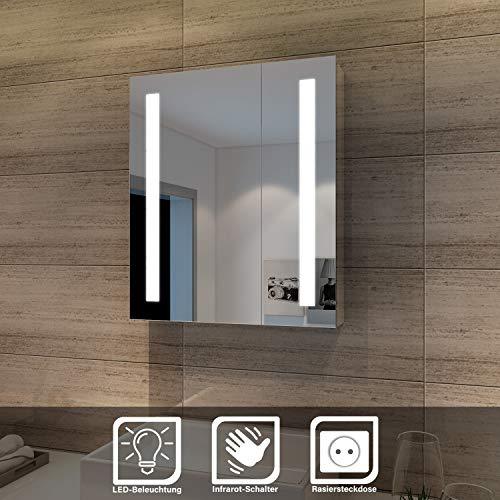 Elegant Spiegelschrank LED 2-türig Badezimmerspiegel mit Beleuchtung 60 x 70 cm Kaltweiß Infrarot Sensorschalter Badschrank mit Rasierersteckdose