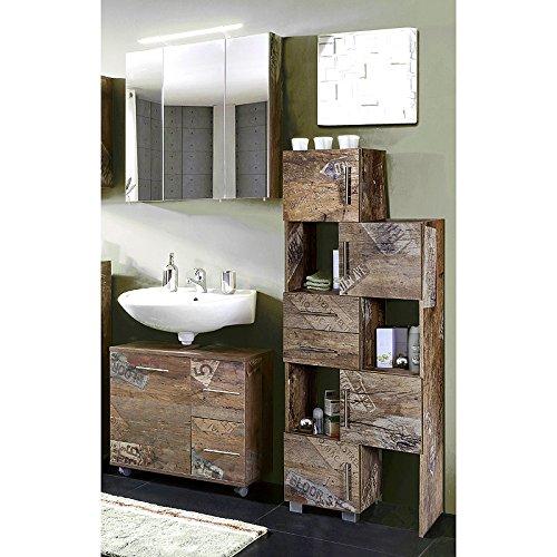 Lomado Badmöbel Set 3-teilig ● Panama Eiche ● Badezimmer Komplettset: Spiegelschrank, Waschbeckenschrank, Schiebelement ● Made in Germany