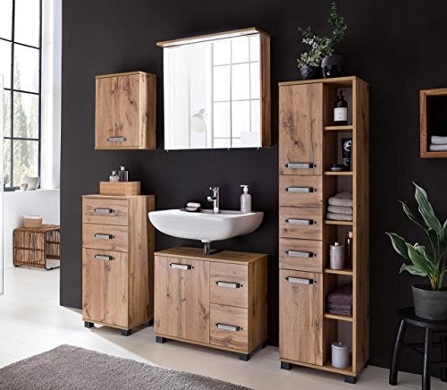 lifestyle4living Badmöbel, Badezimmermöbel, Hochschrank, Oberschrank, Unterschrank, Waschbeckenunterschrank, Spiegelschrank, Wotaneiche-Nachbildung, Set 5-TLG.