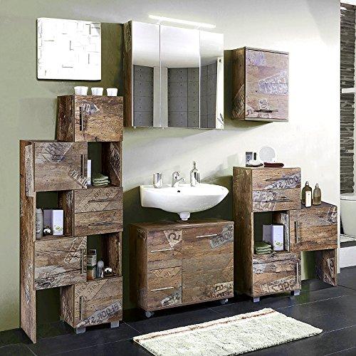 Lomado Badmöbel Set 5-teilig ● Panama Eiche ● Badezimmer Komplettset: Spiegelschrank, Waschbeckenschrank, großes und kleines Schiebelement, Hängeschrank ● Made in Germany